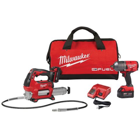 Milwaukee® M18 FUEL™ 1/2in Impact Wrench w/Friction Ring Kit + FREE Grease Gun