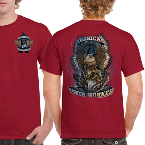 Midwest Unlimited - American Tower Worker - Eagle T-shirt - Cardinal Red