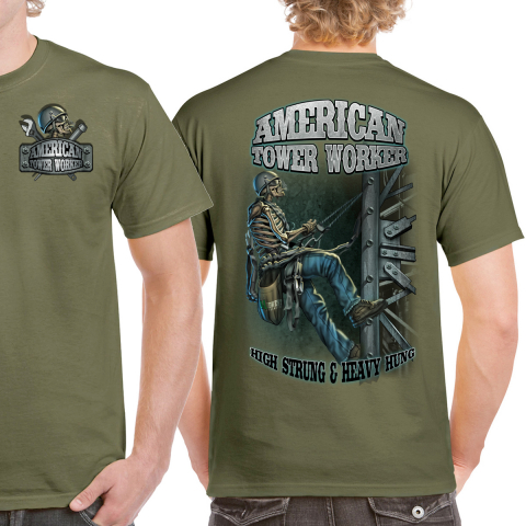 Midwest Unlimited - American Tower Worker - High Strung T-shirt