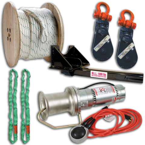 Midwest Unlimited Deluxe Capstan Package w/Straight Mount & Crosby Blocks