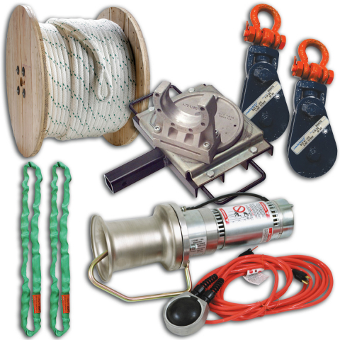 Midwest Unlimited Deluxe Capstan Package w/Swivel Hitch Assembly & Crosby Blocks