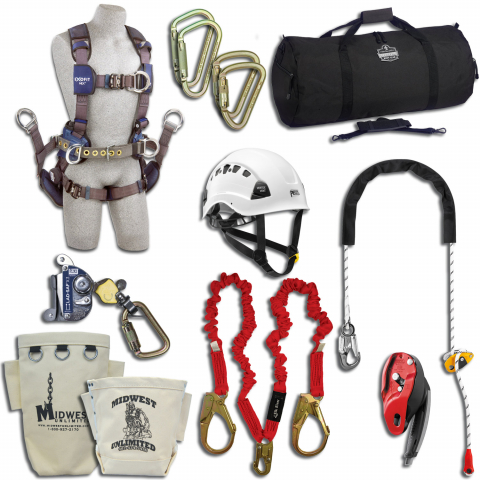 Midwest Unlimited Deluxe Tower Climbing Kit with ExoFit NEX Harness
