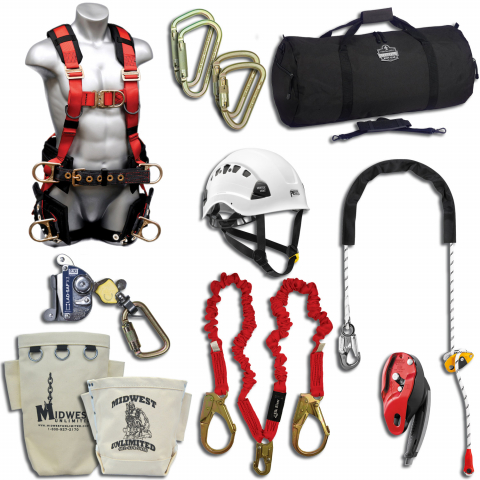 Midwest Unlimited Deluxe Tower Climbing Kit with Elk River Perigrine Harness