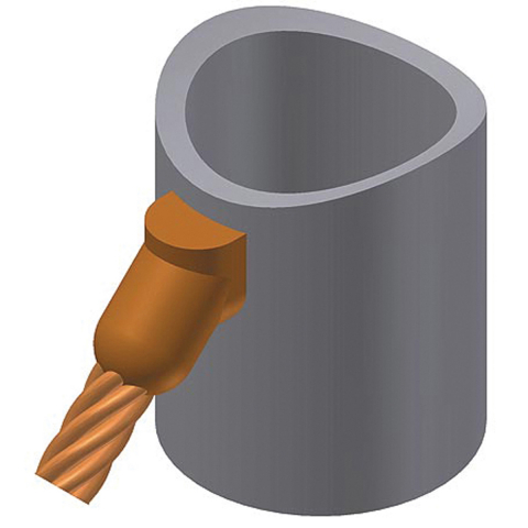 thermOweld Bottom Feed Cable to Vertical Pipe (Down) 45 Degree